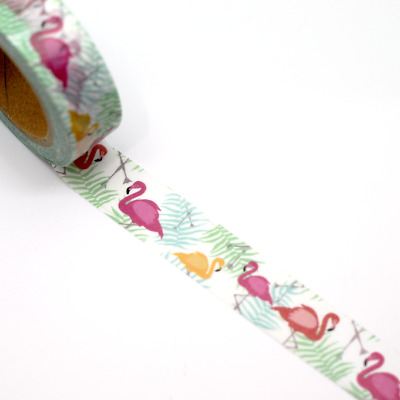 Washi Tape - Tropical Flamingo 15mm x 10m Bright Decoration Planner  Tape