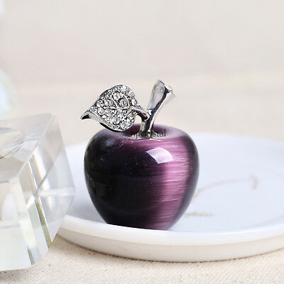 30mm Natural Crystal Paperweight Purple Apple Figurine Decoration Christmas Gift