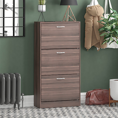 3 Drawer Shoe Cabinet Storage Cupboard Footwear Stand Rack Wooden Unit Walnut