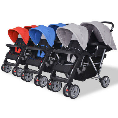 vidaXL Baby Tandem Toddler Stroller Pram Pushchair Buggy Red/Blue/Grey+Black