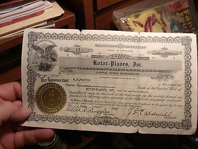Rare WWII 1939  Rotor-Planes Inc Early Helicopter Co 3000 Sh Stock Certificate