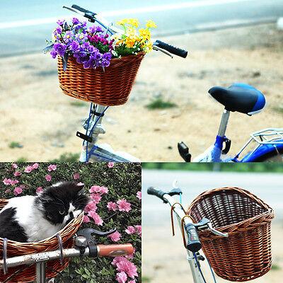 Fashion Unique Retro Wicker Bicycle Basket With Straps Bike / Cycle Shopping