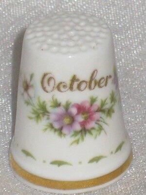 October Flower of the Month Royal Albert England Bone China Thimble