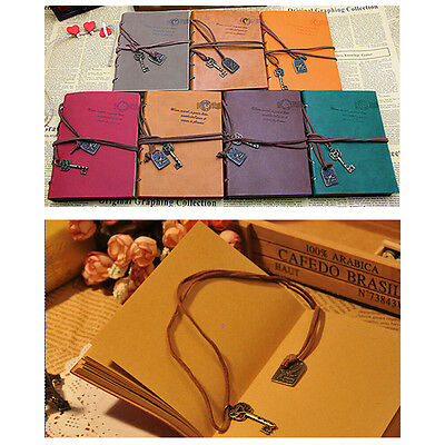 Retro Classic Vintage Leather Bound Blank Pages Journal Diary Notebook 1Pcs L3Q