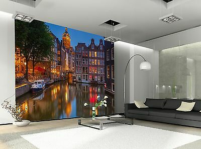 Amsterdam at Night  Wall Mural Photo Wallpaper GIANT WALL DECOR Paper Poster