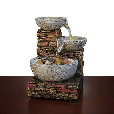 Brick Water And Led Relaxing Cascading Bowl fountain LED For Indoor,Desk Table