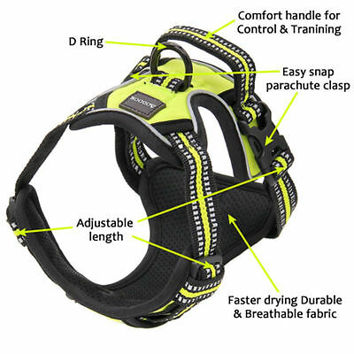 No-pull Pet Dog Harness 3M Reflective Outdoor Adventure Pet Vest Padded Handle