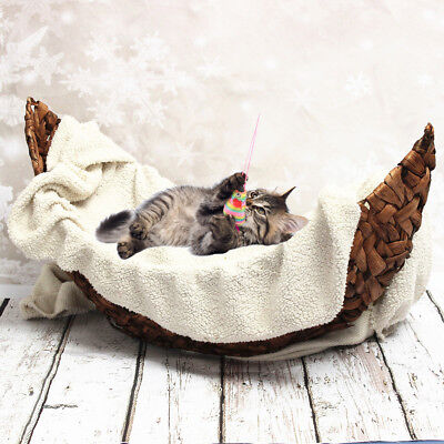Handmade Newborn Baby Creative Woven Brown Crescent Basket Photography Prop Gift