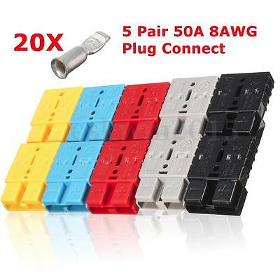 5 Pair 50 AMP Battery Connector Quick Connect + Terminal for Anderson Style Plug
