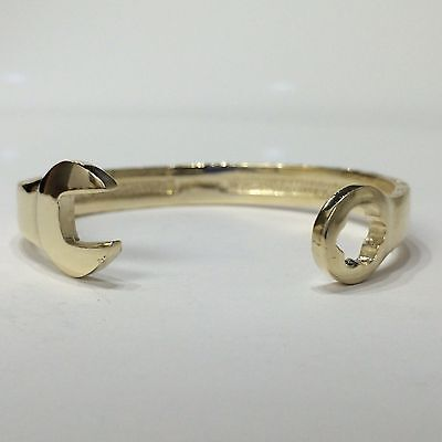 HANDMADE CHILDS 8mm SPANNER BANGLE 9CT GOLD ON JEWELLERS BRONZE BOYS LADS 16cm