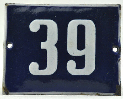 Old Blue White Porcelain Enamel French House Gate Door Sign Number 39 VTG Retro