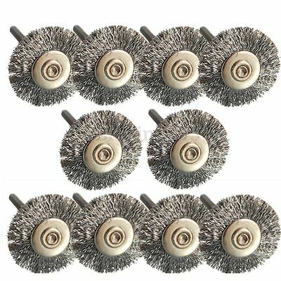 10x 22mm Wire Wheel Polish Brushes For Dremel Rotary Grinder Accessories Tool