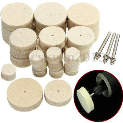 33pcs Wool Felt Polishing Buffing Round Wheel Tool +3 Shank For Dremel Rotary
