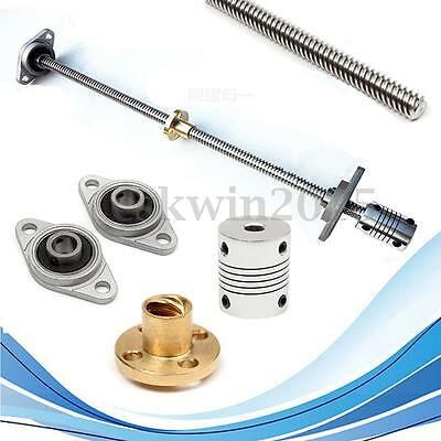 5Pcs 30cm T8 Lead Screw Rod W/ Nut + Bearing Block + Coupler 8mm x 300mm CNC Set