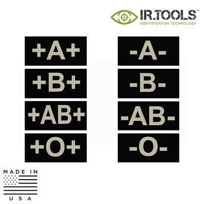 IR.Tools™ Infrared IR Blood Type Covert Field Patch - Printed