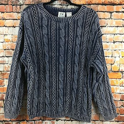 VTG TOGETHER! 80s Womens S Navy Blue Acid Wash Oversized Long Sleeve Sweater Top
