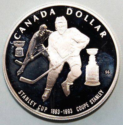 Canada 1 Dollar 1993 Proof Large Silver Coin - Stanley Cup Hockey