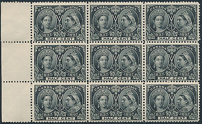Canada #50 1/2c Victoria Jubilee Fresh Mint Block of 9, Fine+, Stamps NH