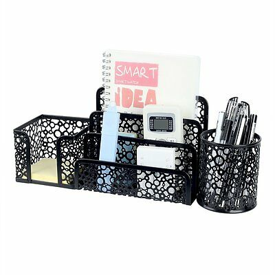 3 Pc Set Desk Supplies Organizer Pen Pencil Holder Desktop Office Metal Mesh