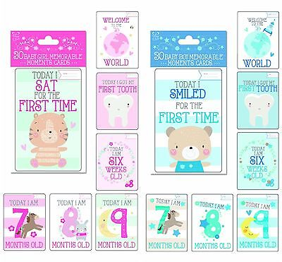 Babys boy girl 1st year memorable moments mile stones card 30 pk christening