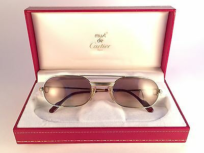 Vintage Cartier Louis Vendome Medium 53Mm Sunglasses Elton John France 18K