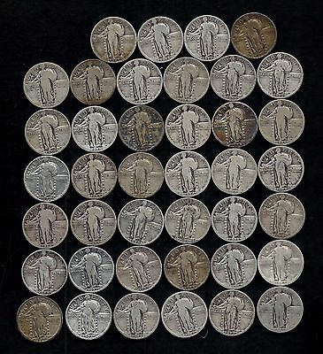ROLL STANDING LIBERTY QUARTERS 1925-1930   90% Silver  (40 Coins)  LOT M70