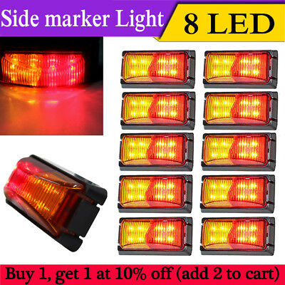 10 PCS Red/Amber 8 LED Side Marker Indicators Light Truck Trailer Boat Clearance