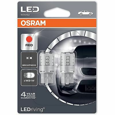 OSRAM LED W21W 582 T20 SC 12V 7705R-02B Red Indicator Bulbs W3x16d Twin