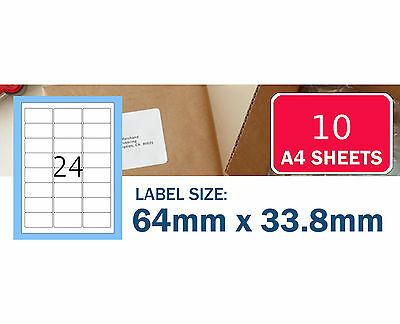 10 sheets 24 up 64 x33.8mm Peel Paste Label A4 Office Mailing Address label 24UP