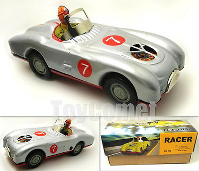 MS642 Silver Racer Number 7 Race Car Retro Clockwork Wind Up Tin Toy w/Box