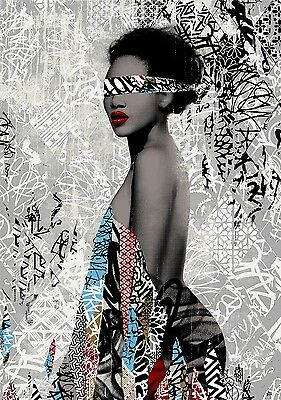 HUSH - Nubian Princess Screen print signed & numbered Street, urban art, stencil