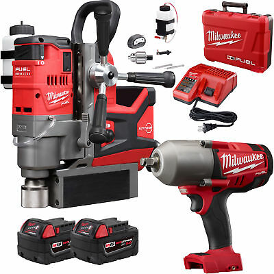 "M18 FUEL 1-1/2"" Magnetic Drill w/ Impact Wrench + 2 Batts Milwaukee 2787-22 New"