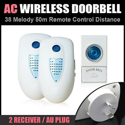50M AC 240V 1 Transmitter 2 Receiver Wireless Remote Door Chime Bell 38 Sounds