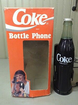 Vintage THE COCA COLA COMPANY 5000 Black Bottle Electronic Telephone In Box