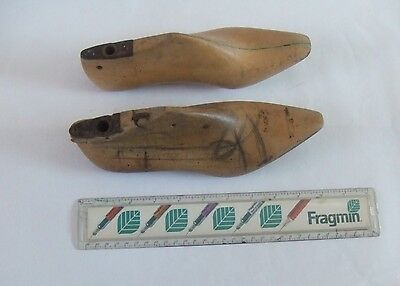 Vintage wooden French 2x shoe lasts; 'wedge toes'!