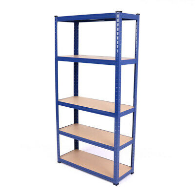 5Tier Wide Heavy Duty Boltless Blue Metal Warehouse Industrial Racking Storage