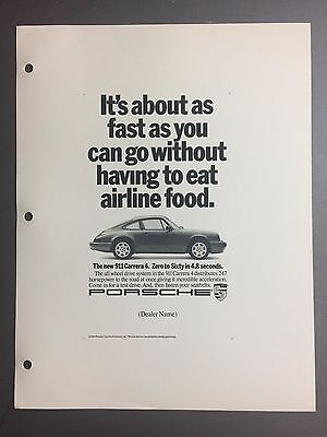 1989 / 1990 Porsche 911 Carrera 4 Coupe Advertising Slick Ad Slick Print Poster