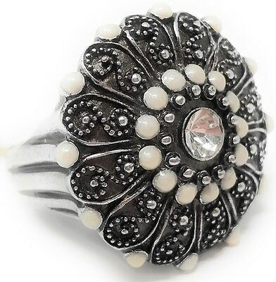 Turkish Ottoman Empire Styled Embellished Embossed Ring Size 10 Silver Plate
