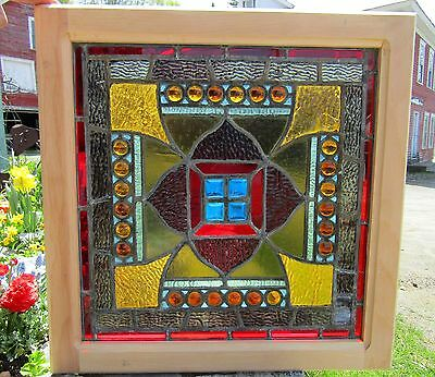 "Great Antique Stained Glass Window W Jewels - 22"" Sq"