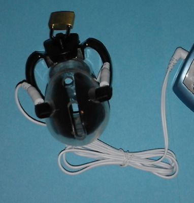 E-Stim Tens Electrosex Male Chasity Cage With Leads And 2.5Mm Jack ! Uk Seller