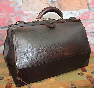 Antique Doctor's Medical Bag Brown Leather Apothecary Bag Old Medical Bag Dr Bag