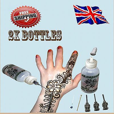 2x henna temporary tattoo applicator bottles kit with 4 tips