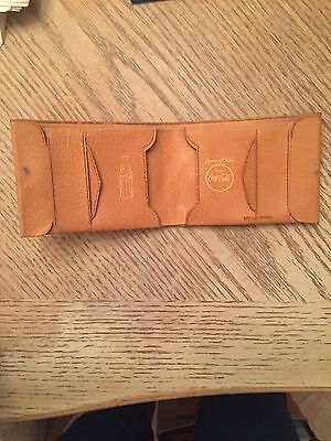 COCA COLA Vintage WALLET Folding style DEALER'S Premium GENUINE PIGSKIN