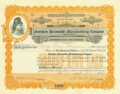 1920 Southern Automobile Manufacturing Company Orange Stock Certificate
