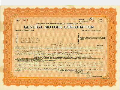 1920  GENERAL MOTORS Corporation Subscription Warrant Certificate - 20 Shares