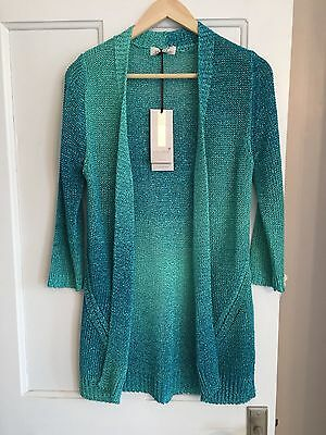 M&S Green Cardigan Knitted Look Spring Summer Per Una long 3/4 sleeve RRP £45