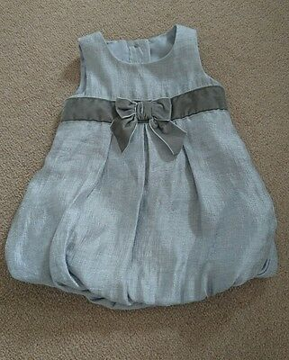 Baby girl 3-6 months silver party dress  / wedding with bubble hem