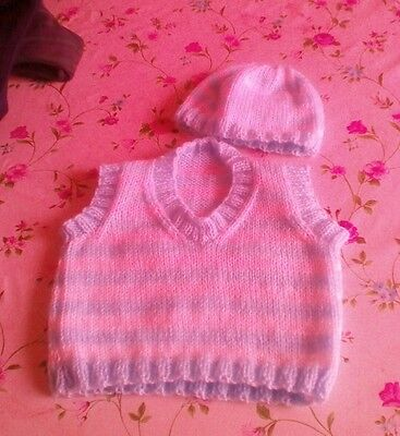 Hand knitted baby boys tank top and hat size 3-6 months blue and white
