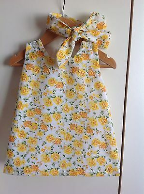 New BNWT 3-6 months baby girl floral dress and headwrap summer yellow
