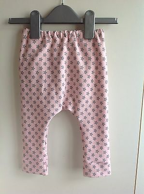 Baby girl cotton pink star handmade jersey leggings size 6-9 months new BNWT